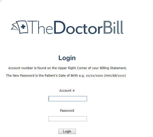 Log-in and payment details of thedoctorbills.com