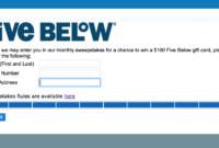 fivebelowsurvey $100 gift survey