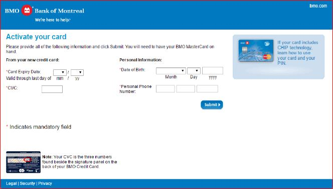BMO credit card activation by login