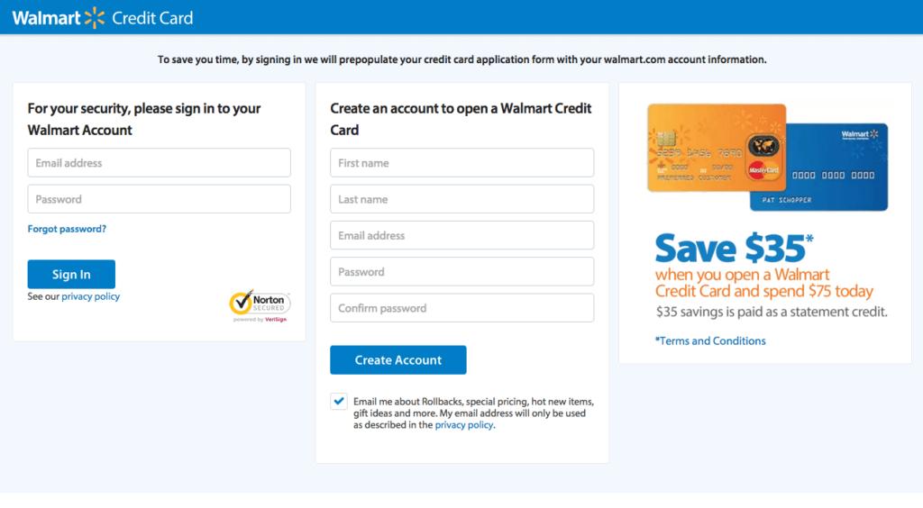 Walmart Credit Card application online