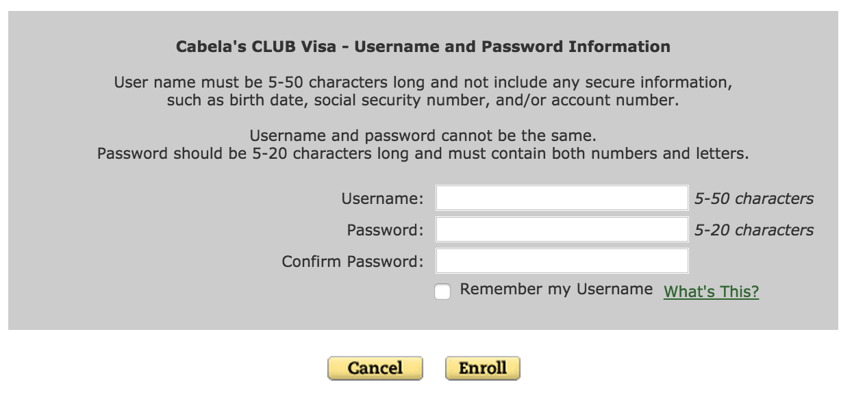 Cabela's Club Visa login