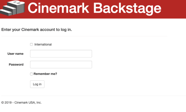 Cinemark BackstageEmployee Login