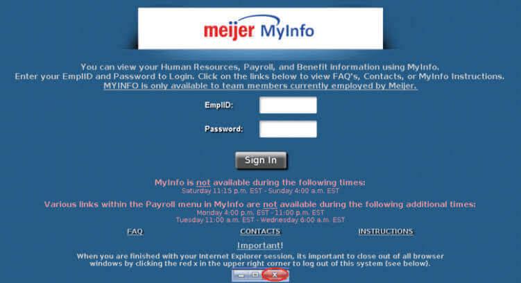 Meijer Myinfo Login Portal for Employees
