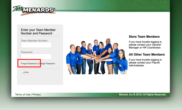 TM Menards Password Reset