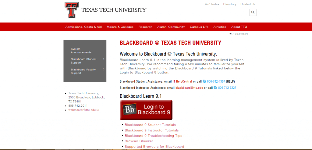 Blackboard Texas Tech University Login and Sign in Guide