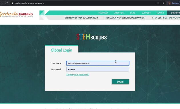 STEMscopes Accelerated Learning Account Sign and Login Student Guide